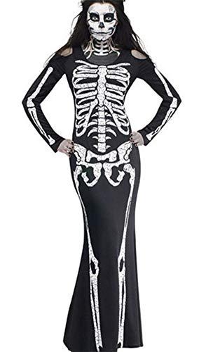 DOKER Women Halloween Ghost Festival Horror Skeleton Costume