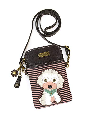 (Chala Crossbody Cell Phone Purse-Women PU Leather Multicolor Handbag with Adjustable Strap - Poodle - Burgundy Stripe)