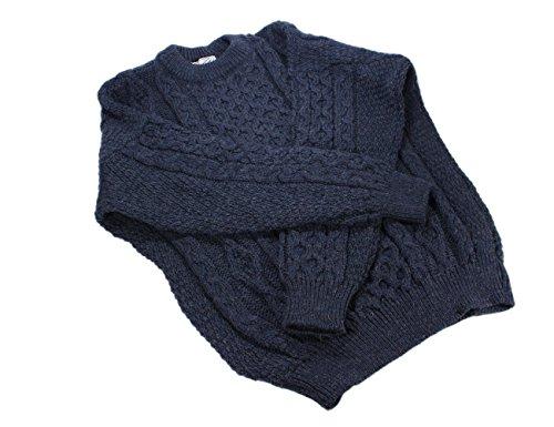 Kerry Woollen Mills Aran Wool Sweater Denim Crewneck Unisex Made in Ireland Small