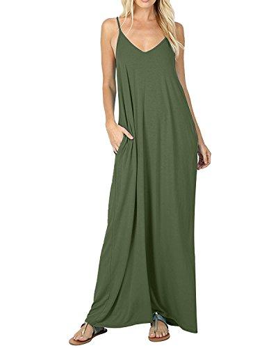 ACHIOOWA Donna Vestito Lungo Nuovo Solido Colore Abito Maxi Senza Manica Casual Elegante Cocktail Ufficio Sera Verde