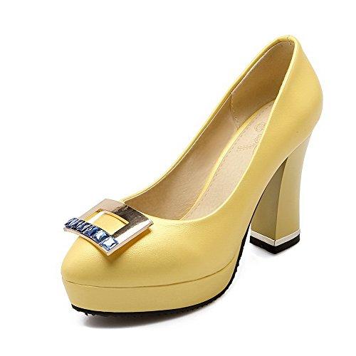 AllhqFashion Mujer Tacón Alto Material Suave Tachonado Sin cordones De salón Amarillo