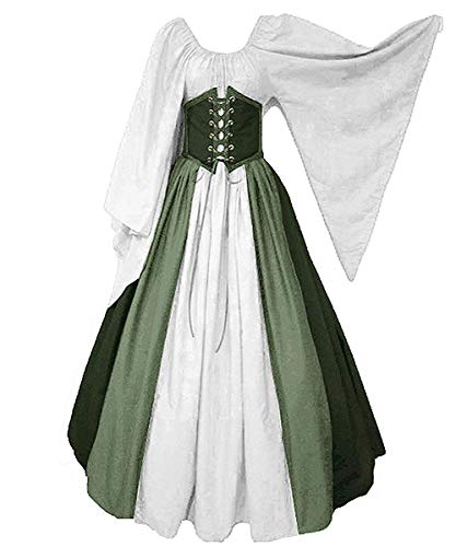 Abaowedding Women's Renaissance Medieval Costumes Dress Trumpet Sleeves Gothic Retro Gown Green Medium]()