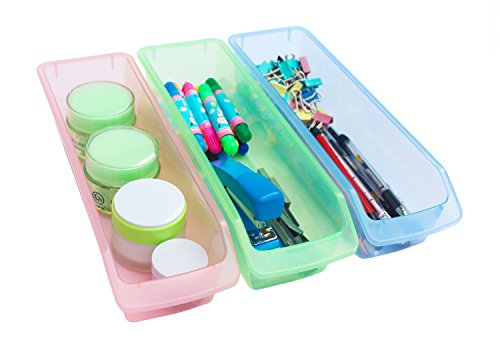 Narrow Acrylic - Honla Small Plastic Drawer Organizer Trays/Bins-Set of 3-Clear Drawer Dividers for Kitchen Cabinet/Bathroom Vanity/Office Desk/Desktop Storage Organization-Pink,Lime Green,Light Blue,12-Inch