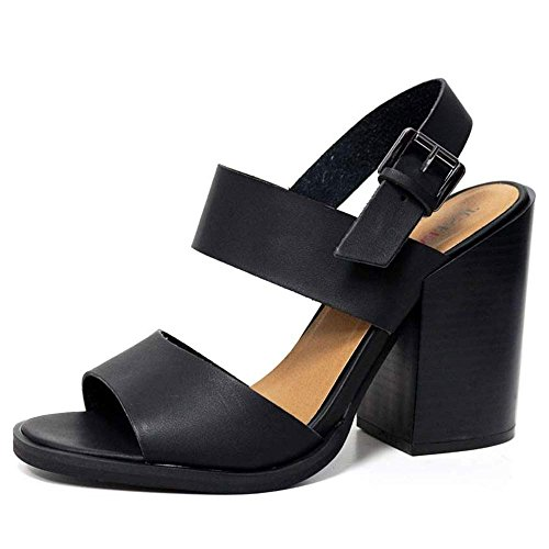 LADIES FAUX LEATHER FASHION STRAPPY SANDALS BLOCK HEEL BLACK SIZE 3-9 E9DQH7TP