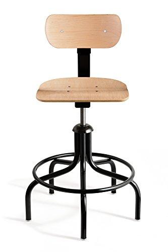Black Tubular Steel - Bevco Maple Plywood Chair w/5-legged Round Black Tubular Steel Base w/19