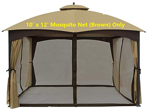 APEX GARDEN Universal 10' x 12' Gazebo Replacement Mosquito Netting (Brown)