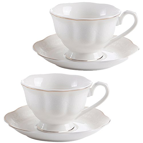 New Bone China Porcelain Tea Cup and Saucer 6 OZ Embossed Flower Gold Edge Coffee Cups Set of 2