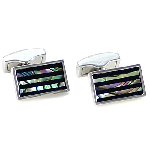 (MENDEPOT Classic Rhodium Plated Rectangle Onyx Stripes Cufflinks With Box (Abalone))
