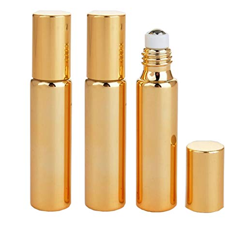 3PCS 10ml/0.34oz Empty Refillable Gold UV Coating Glass Essential Oil Roller Bottles Sample Packing Vial Cosmetic Jar Container Holder For Perfume Lip Oil Aromatherapy Essential Oil