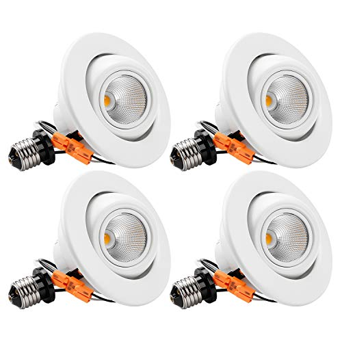 TORCHSTAR High CRI90+ 4 inch Dimmable Gimbal Recessed LED Downlight, 10W (75W Equiv) Energy Star, 2700K Warm White, 750lm, Adjustable LED Retrofit Lighting Fixture, 3 Years Warranty,Pack of 4