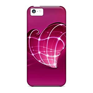 MMZ DIY PHONE CASEIphone Covers Cases - 3d Pink Heart Protective Cases Compatibel With iphone 5c
