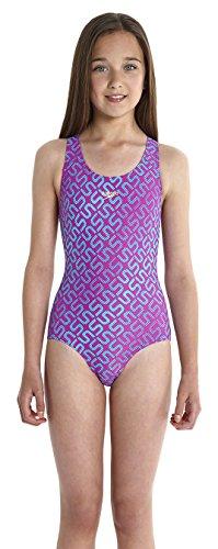 Speedo Mädchen Monogram Splashback Badeanzug mit Allover Print, Diva/Bali Blue, 128, 8-08833A822128