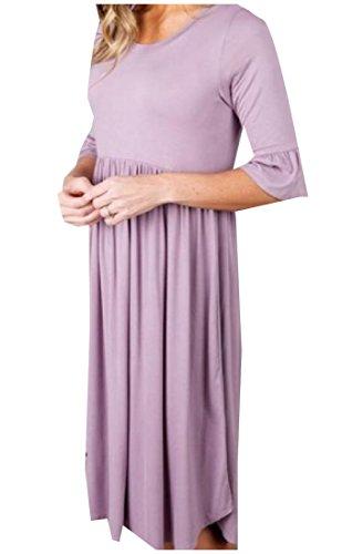 Coolred-femmes Couleur Pure Casual Robe T-shirt À Manches Simple Demi-violet