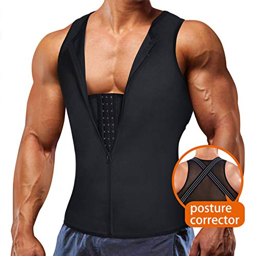 Underwear Men Shirt Tight Tank with Top Upper Back Support Brace Tummy Trimmer Body Shaper Slim Vest (Black with Hook, 2XL)