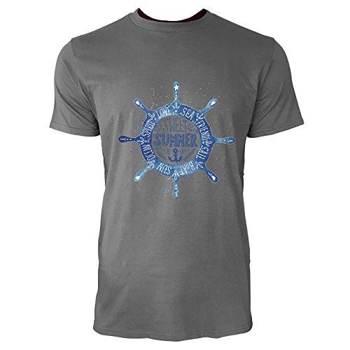 SINUS ART® Maritimes Vintage Steuerrad mit Anker Herren T-Shirts in Grau Charocoal Fun Shirt mit tollen Aufdruck