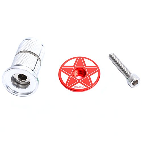 [Bike Headset Stem Cap with Star Nut and expansion Bolt Screw Bicycle Headset Top Cap (Red)] (Headset Top Nuts)