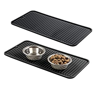 (Pack of 2 – Black) – mDesign Premium Quality Pet Food and Water Bowl Feeding Mat for Dogs and Puppies – Waterproof Non… Click on image for further info.