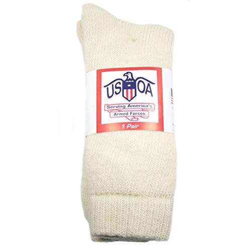 (USOA Military Arctic Cold Weather Wool Boot Socks Cream,)