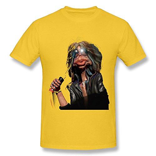 Steven Tyler Shirt (Kevin Steven Tyler - Aerosmith T Shirt For Mens Yellow)