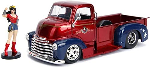Jada 1:24 DC Comics Bombshells Wonder Woman /& 1952 Chevrolet COE Pickup Red//Blue