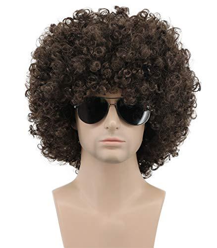 Karlery Mens Women Short Curly Black Green Colorful Rocker Wig California Halloween Cosplay Wig Anime Costume Party Wig (Dark Brown) -