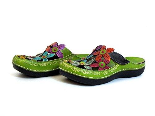 Laura Vita Mujeres Zapatos abiertos verde, (rot-kombi) BILLY 11 rot-kombi