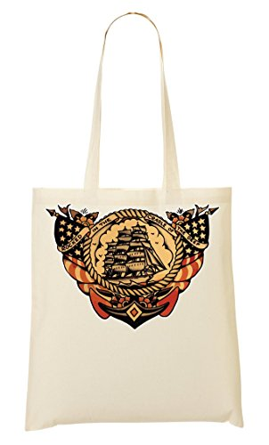 provisions collection Old à Fourre Sac tout Sailing Ship school tattoo colors Sac Vintage B6W7Aq1