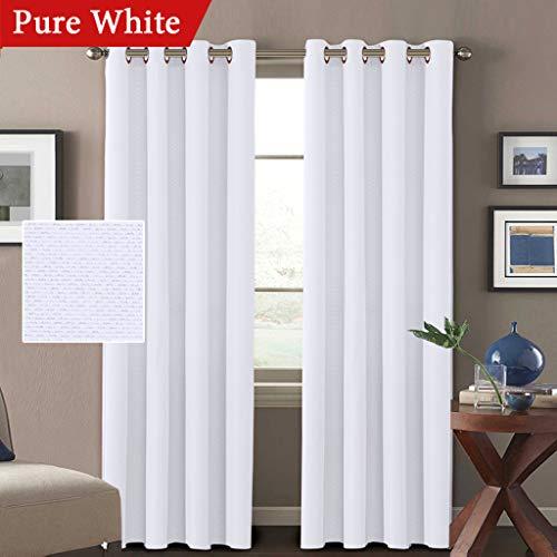 H.VERSAILTEX White Linen Curtains 84 Room Darkening Linen Lo
