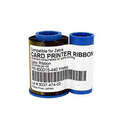 Zebra P430i Color (800015-440 YMCKO Color Ribbon for Zebra P330i P420i P430i Card Printers, 200 Prints)