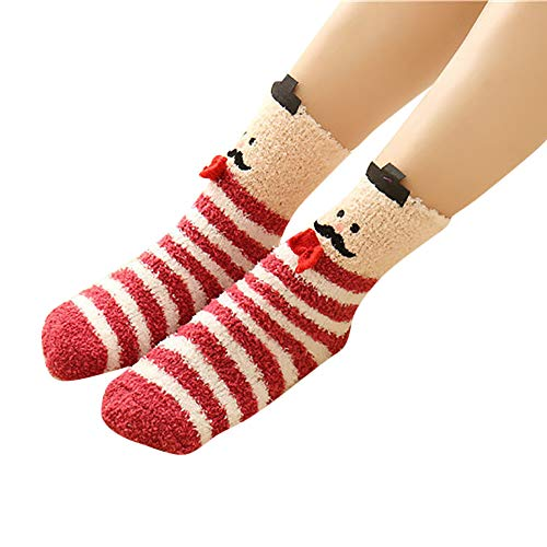 SuNiSER Christmas Socks, Winter Warm Fluffy Animal Stripe Bodystocking for Ladies Girls -