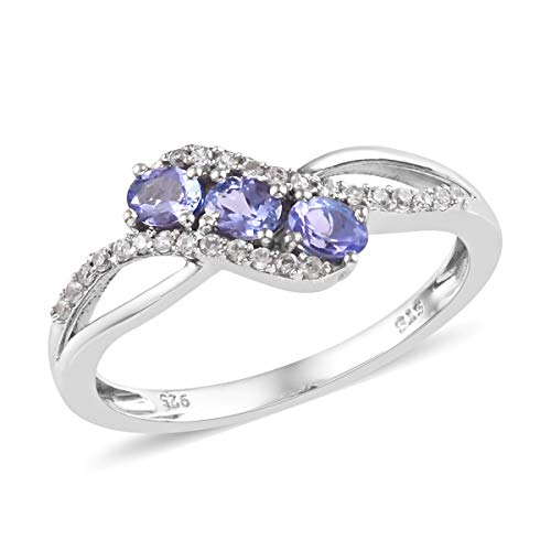 (Oval Tanzanite Ring 925 Sterling Silver Platinum Plated Jewelry for Women Size 7 Ct 0.6)