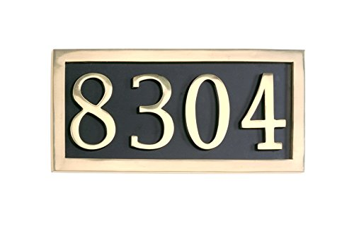 Comfort House Address Sign Personalized with 4 Solid Brass Numbers. Custom House Number Plaque P1024sb.