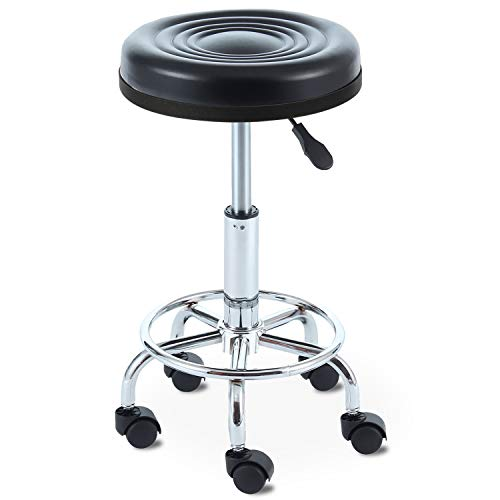 Rfiver Small Medical/Spa/Drafting Stool 24 inch Height in Black with Wheels and Height Adjustment SC1002B (Best Cyber Monday Deals On Washers And Dryers)