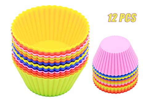 (PONECA Silicone Cupcake Liners/Baking Cups - 12 Vibrant Muffin Molds Reusable and Non-stick)
