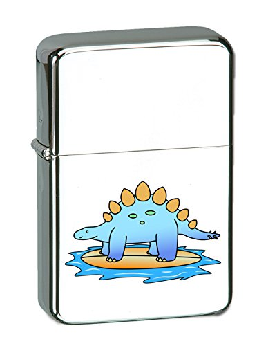(Hat Shark Stegosaurus Dinosaur Surfing on Surf Board The Ocean Fun Cute Vector KGM Thunderbird Vintage Lighter - High Polish Chrome Finish)