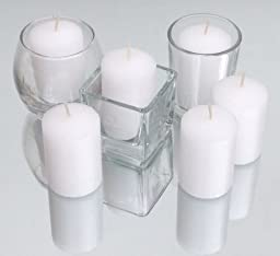 Inspired Candles 15 Hour Natural Soy Wax and Paraffin Wax Unscented Smokeless Votive Candles, White, Set of 36