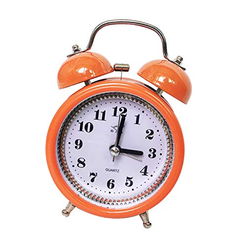 Fenteer Vintage Retro Twin Bell Cute Silent Movement Alarm Clock for Kids Loud Analog Battery Operated Clock with Nightlight - Orange, 12x8x5cm