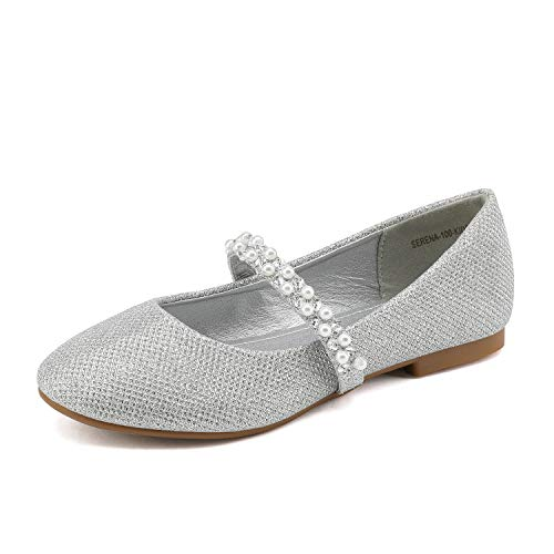 DREAM PAIRS Little Kid Serena-100-Silver Glitter Girl's Mary Jane Ballerina Flat Shoes - 12 M US Little ()