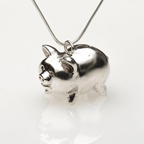 Bank Sterling Piggy Silver (Piggy bank silver pendant necklace charm)