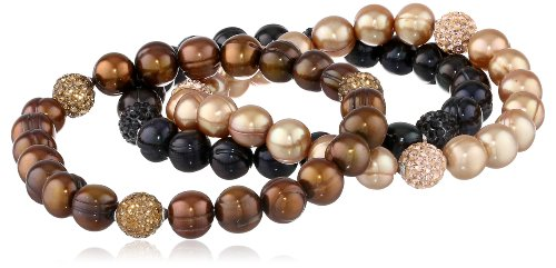 """Honora """"Pop Star"""" Jet, Chocolate and Mocha Freshwater Cultured Pearl and Crystal 7.5"""" Stretch Bracelet"""
