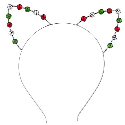Lux Accessories Silver Tone Green Red Silver Jingle Bell Cat Ears Christmas Xmas