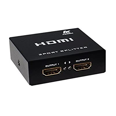 ASSEM Ultra HD 4K x 2K HDMI Splitter Amplifier 1x2 1 in 2 Out Ver 1.4 Signal Distributor with 1080P 3D Compatibility (1 hdmi to 2 hdmi)