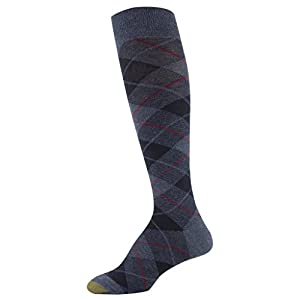 Gold Toe Women's Winter Plaid and Flat Knit Knee Highs, 2 Pairs, Denim/Navy, Shoe Size: 6-9