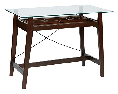 Office Star Tribeca 42-Inch Solid Wood and Veneer Computer Desk with Pullout Keyboard Tray with Storage Space and Tempered Glass Top, Espresso Finish