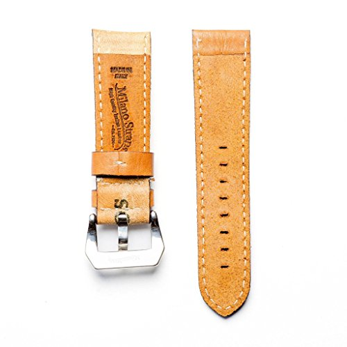 Baseball Leather Watch Strap - Limited Edition Stylish Lug With 24mm Milano Straps (24mm, Stainless Steel Polish) by Milano Straps (Image #1)