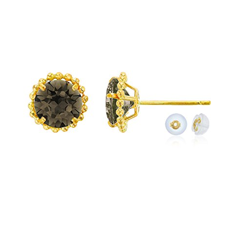 14K Yellow Gold 5mm Round Smokey Quartz with Bead Frame Stud Earring with Silicone Back ()