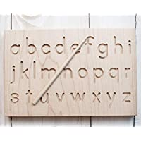 MDH Toys Solid Wood Lower Case Canadian Made Printed Alphabet Tracing Board Preschool Educational Learning Toy