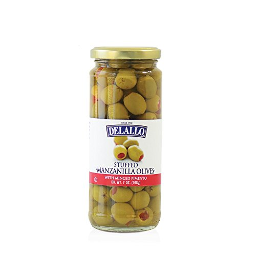DeLallo Stuffed Manzanilla Olives, 7 Ounce (Pack of 12)