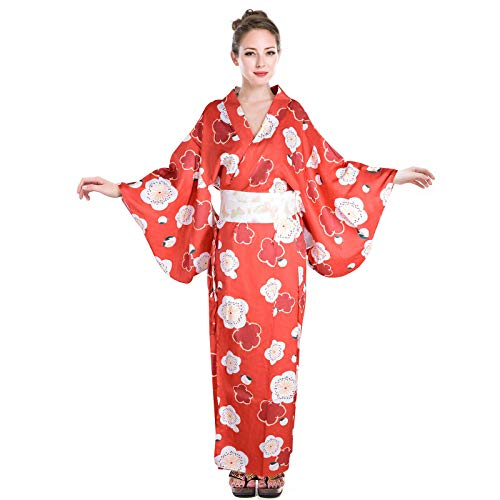 Wraith of East Women's Sexy Yukata Kimono Dress Satin Sakura Pattern Traditional Bathrobe Cosplay Costume Long Robe 51