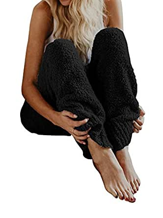 fashare womens fuzzy fleece pajama pj bottoms pants winter